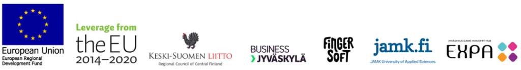 Partner Logos: European Union EAKR, Keski-Suomen Liitto, BusinessJKL, Fingersoft, Jamk, Expa