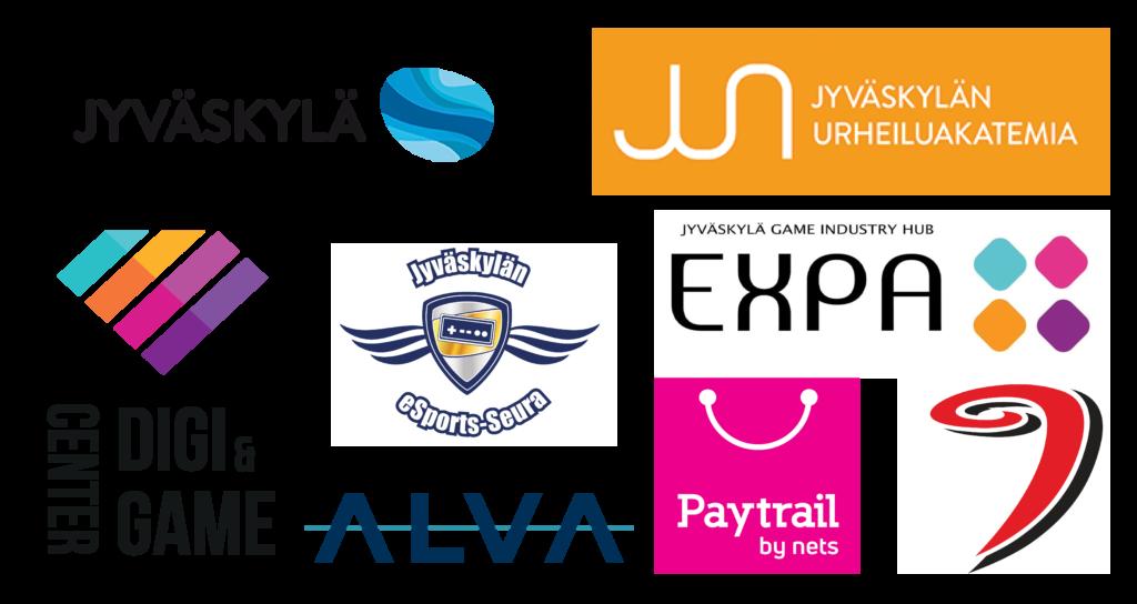 Useita logoja: Jyväskylän kaupunki, Jyväskylän urheiluakatemia, Digi & game Center, ALVA, Jyväskylän esportsseura, Peliosuuskunta Expa, Paytrail, JYP