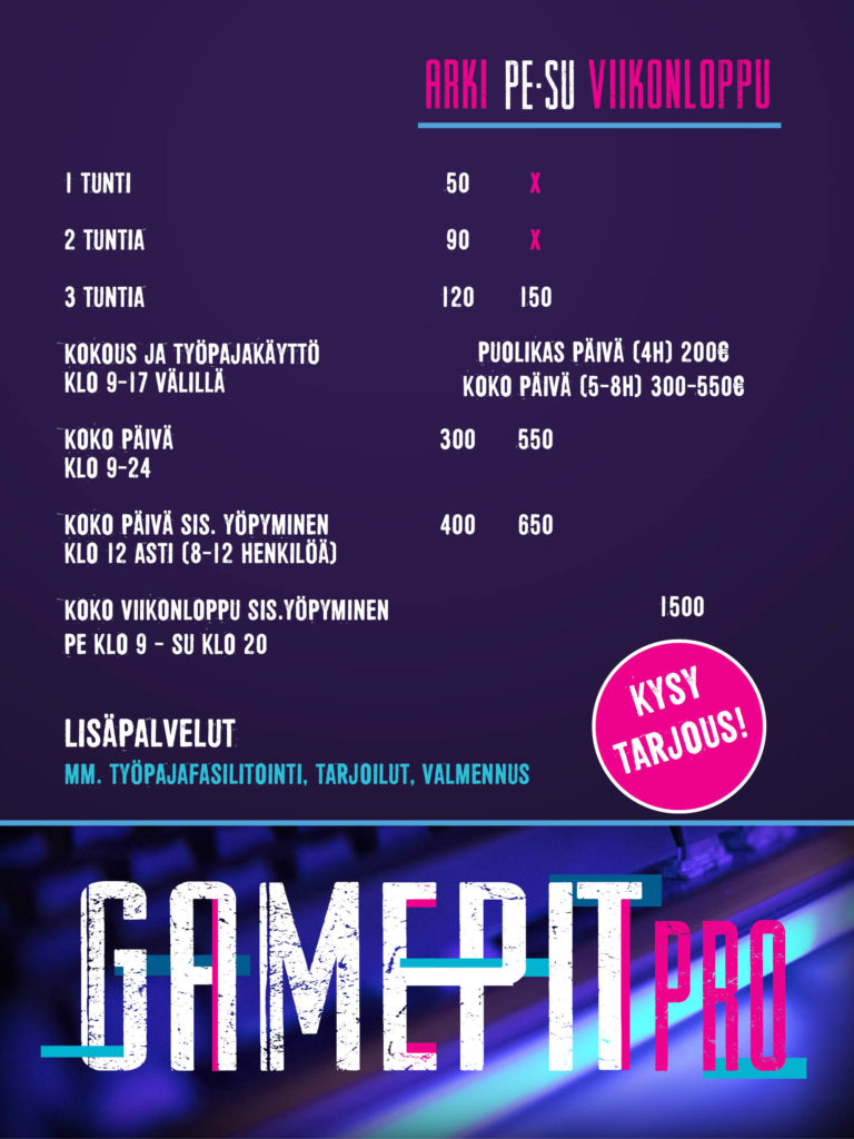Hinnasto GamePit Pro